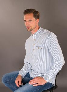 Grandfather Shirt With Blue Stripe