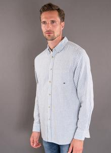 Collared Grandfather Blue Striped Shirt