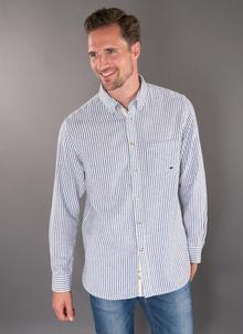 Collared Grandfather Navy Striped Shirt