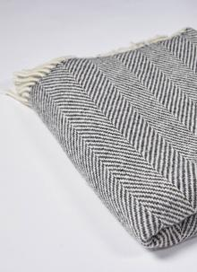 Grey & Natural Herringbone Throw
