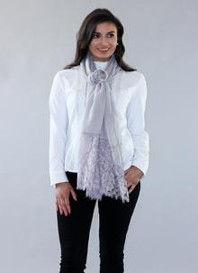 Lace Trim Scarf Grey