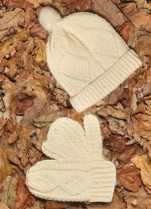 Kids Aran Ski Cap and Mittens Set