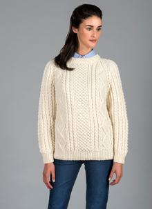 Hand Knit Aran Crew Sweater