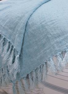 Light Blue Fringed Linen Throw