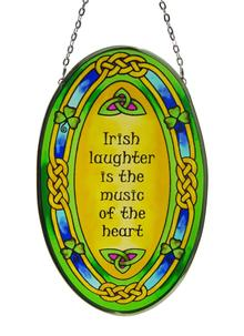 Irish Laughter Oval Stained Glass Suncatcher