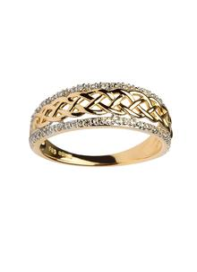 Las 14k Gold Celtic Knot Diamond Ring