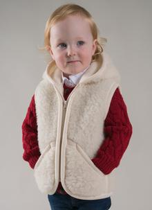 Kids Hooded Wool Gilet & Mittens Set