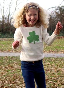 Kids Irish Shamrock Knitted Cream Sweater