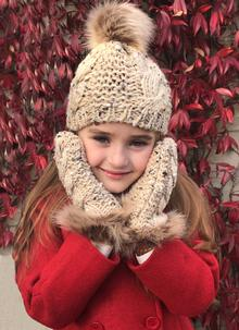 Kids Oatmeal Speckle Fur Trim Mittens