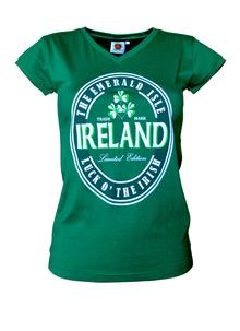 Ladies Green Ireland V-Neck T-shirt