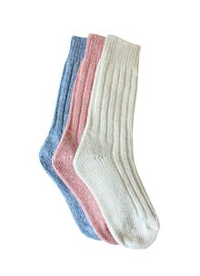 Ladies Wool Socks Natural Pink Blue