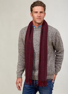 Lambswool Scarf Burgundy Stripe