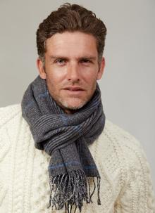 Lambswool Scarf Charcoal Check