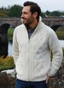 Hand-Knit Full Zip Aran Sweater