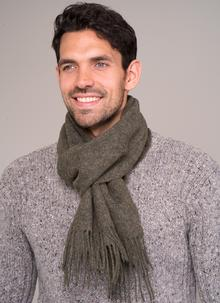 100% Lambswool Scarf Olive Green