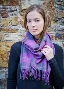 Merino Wool Scarf Purple Check