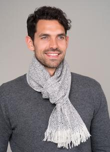 Wool Cashmere Donegal Tweed Grey Scarf