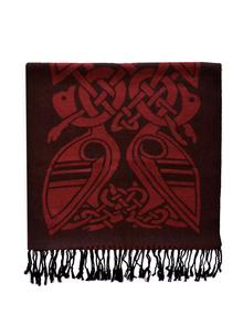 100% Wool Red And Black Celtic Scarf
