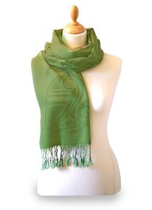 100% Wool Forest Green Celtic Scarf