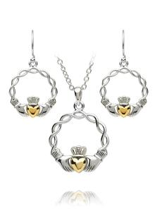 Claddagh Weave Pendant & Earrings Set