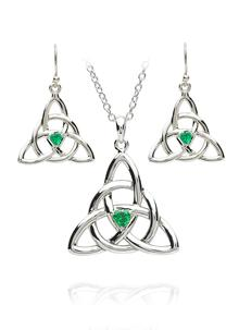 Trinity Emerald Pendant & Earrings Set