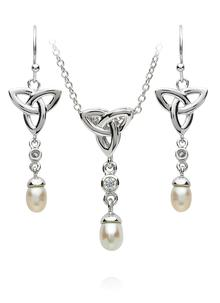 Trinity Pearl Pendant & Earrings Set