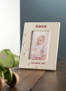 Irish christening gifts irish baptism gifts baby gifts from ireland precious memories personalized frame in pink negle Choice Image