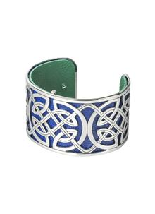 Rhodium & Leather Celtic Knot Wide Bangle