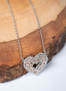 Rose Gold Celtic Heart Knot Pendant Encrusted With Swarovski Crystals