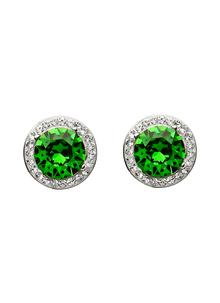 Round Halo Earrings Adorned With Green & White Swarovski Crystals