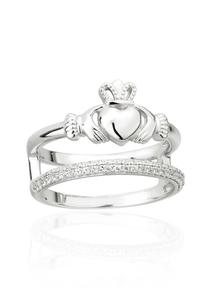 Double Band Claddagh Ring With Cubic Zirconia