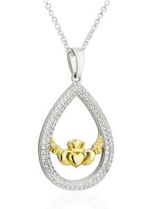 14K Gold & Sterling Silver Claddagh Oval Pendant