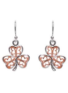 Celtic Rose Gold Plated Shamrock Earrings