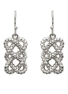 Sterling Silver Fisherman Knot Drop Earrings