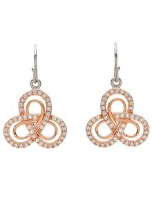 Double Trinity Rose Gold Earrings
