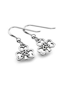 Sterling Silver Shamrock Trinity Drop Earrings