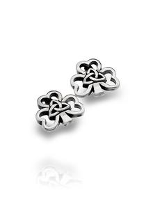 Sterling Silver Shamrock Trinity Stud Earrings
