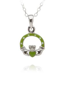 Celtic Princess Claddagh Pendant Green