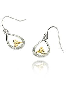 Silver Trinity Knot Stone Set Earrings