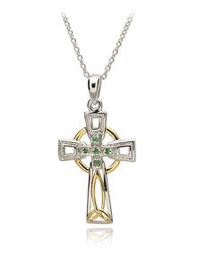 Sterling Silver Celtic Trinity Diamond And Emerald Cross