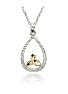 Sterling Silver and 14K Gold Trinity Knot Stone Set Pendant