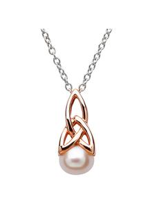 Celtic Trinity Rose Gold Silver Pearl Pendant