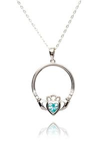 Claddagh Birthstone Pendant Aquamarine - March