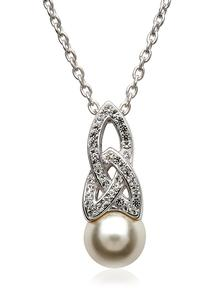 Trinity Pearl Pendant Adorned With Swarovski Crystals
