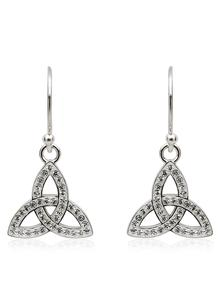 Trinity Knot Drop Earrings Embellished With Swarovski Crystals