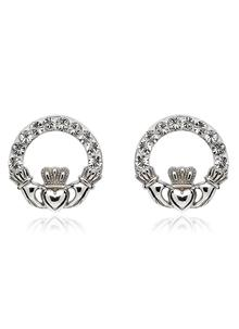 Claddagh Stud Earrings Adorned With Swarovski Crystals