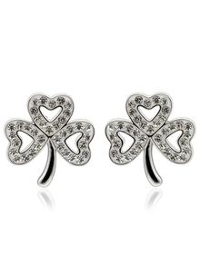 Shamrock Stud Earrings Adorned With Swarovski Crystals