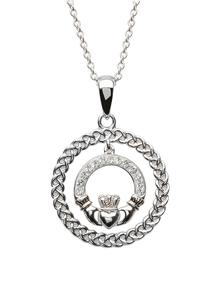 Silver Claddagh & Rope Circle Pendant Encrusted With Swarovski Crystals
