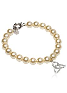 Trinity Pearl Bracelet Adorned With Swarovski Crystals