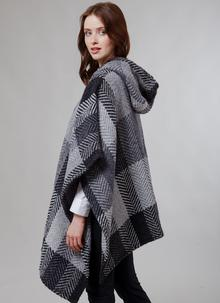 Sarah Hooded Cape Multi Grey Herringbone